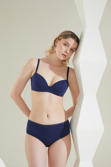 Turkish Cotton Moderate  Bandeau Bra in Navy
