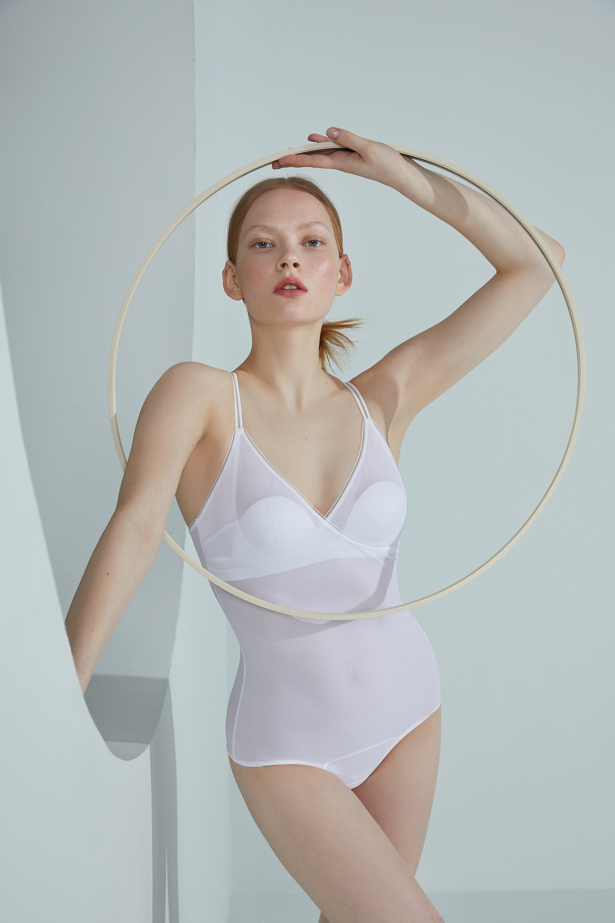 NEIWAI Semi Sheer Padded Bodysuit in White