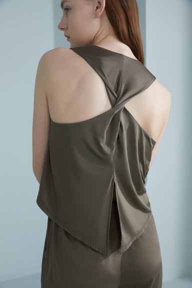 NEIWAI Back Twist Cowl Neck Jumpsuit in Burnt Olive. Back Detail