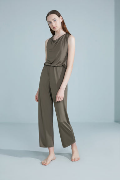 NEIWAI Back Twist Cowl Neck Jumpsuit in Burnt Olive