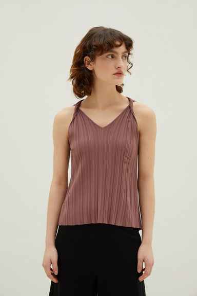 Model wearing NEIWAI's Knitted Split Back Cami in Plum.