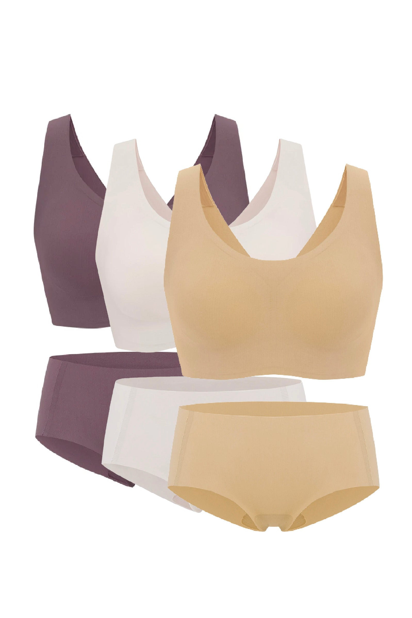 NEIWAI's Barely Zero bra and brief set holiday special pack in purple dove, soft pink, and nude..