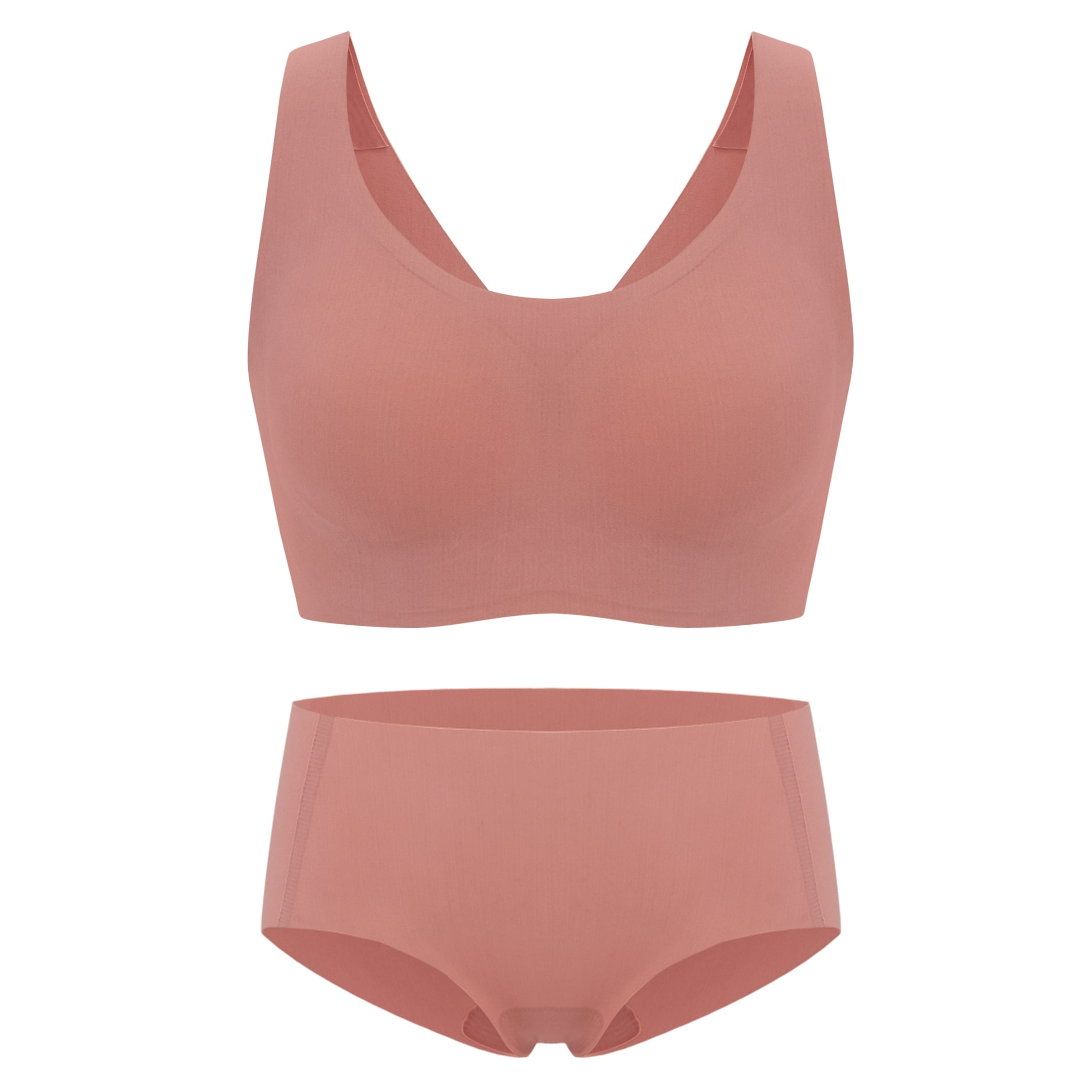 Barely Zero® Your-Size-Is-The-Size Wireless Bra + Brief Set Bundle