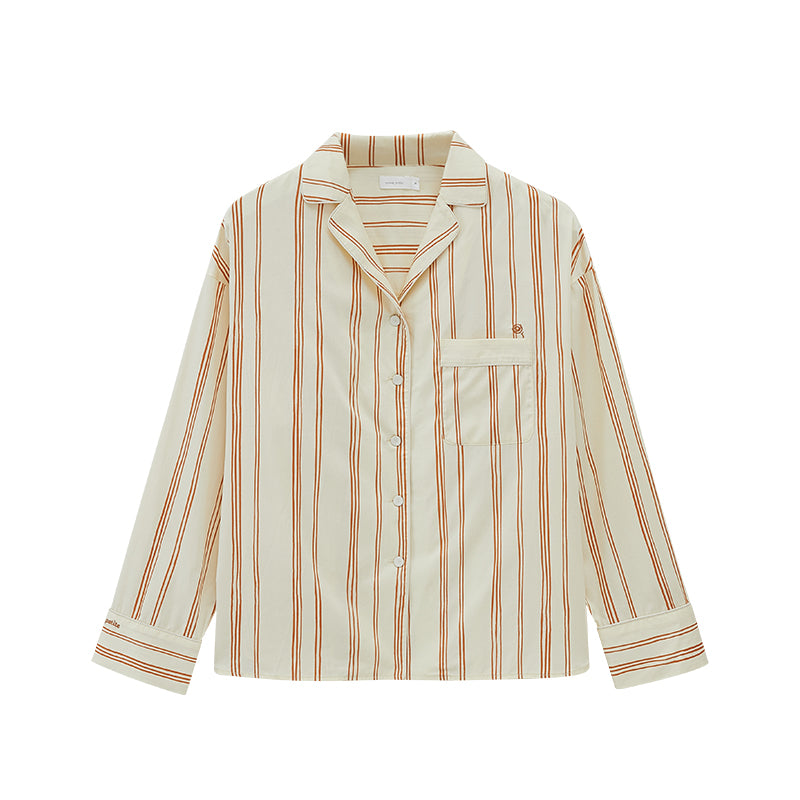NEIWAI's Classic Embroidered Pajama Shirt in Orange Lattice.