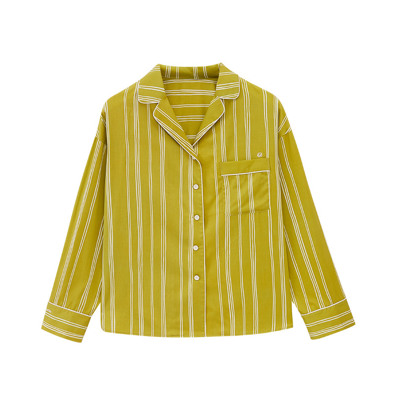 NEIWAI's Classic Embroidered Pajama Shirt in Olive Lattice.
