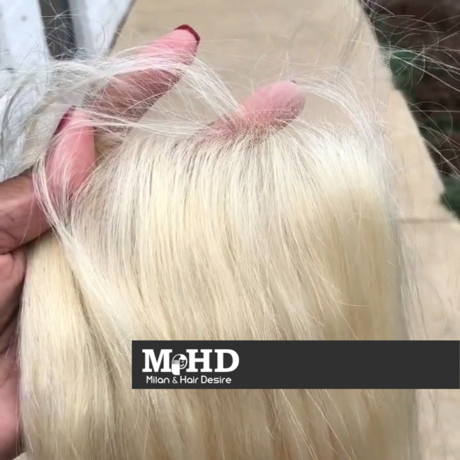 HD 613 Platinum Blonde 5*5 Straight Lace Closure