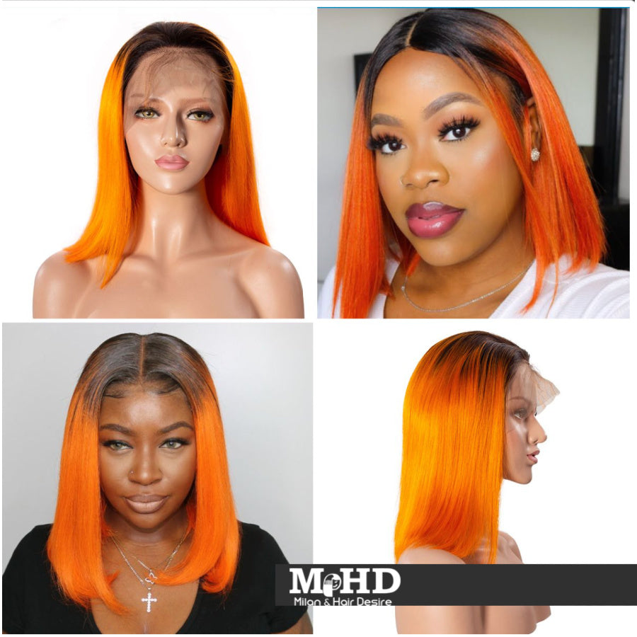 12 Inch Fall Color Human Frontal Lace Wig