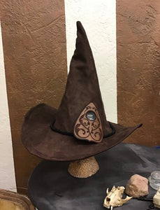 Brown Ouija Board Hat with Smokey Quartz