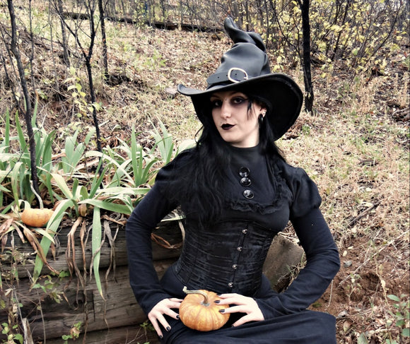 Tall Black Leather Witch Hat
