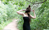 Tall Brown Leather Witch Hat