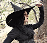 Wide Brim Black Leather Witch Hat