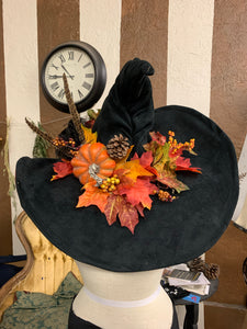 Autumn Harvest Pumpkin Extra Large Black Suede Witch or Wizard Hat ~ Gothic Witch Hat