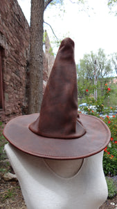 Brown Leather Witch Hat