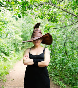 Extra Large Brown Leather Witch Hat