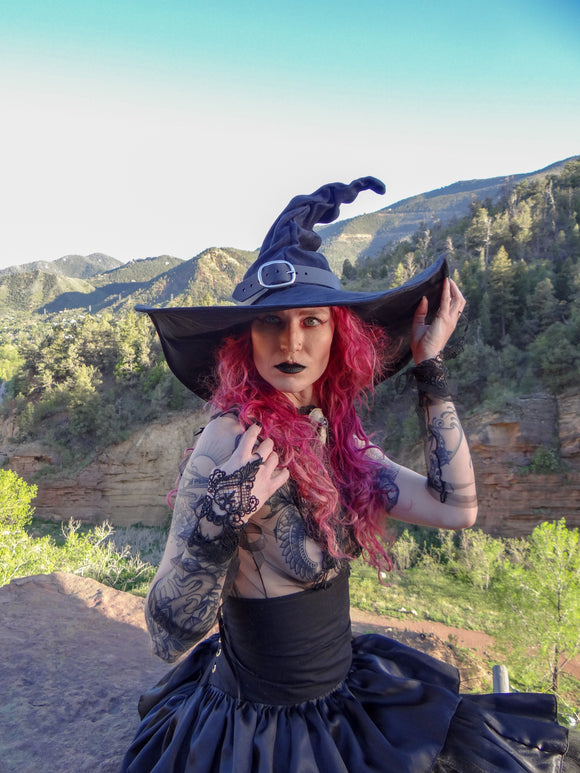 Ruche Black XL Witch Hat