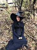 Extra Large Black Leather Witch Hat