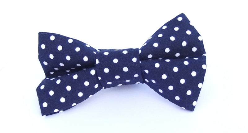 Classic Navy and White Spot Bow Tie