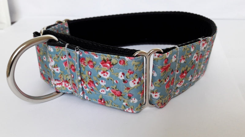 Duck egg floral ripstop martingale collar