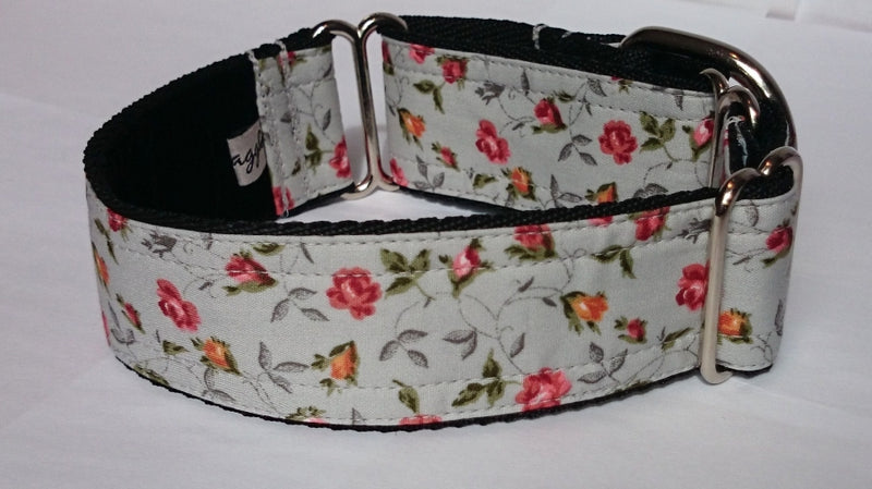 Grey Vintage Floral Martingale Collar