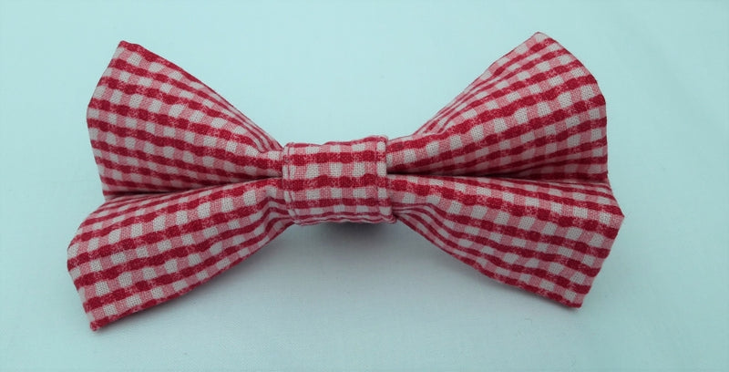 Red & Pink Vintage Gingham Bow Tie