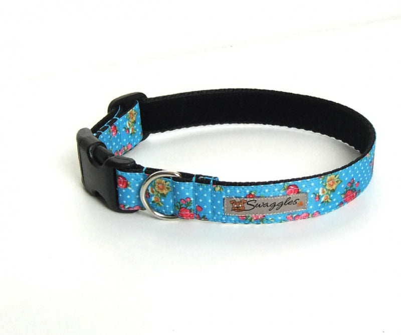 Turquoise Floral Ripstop Collar