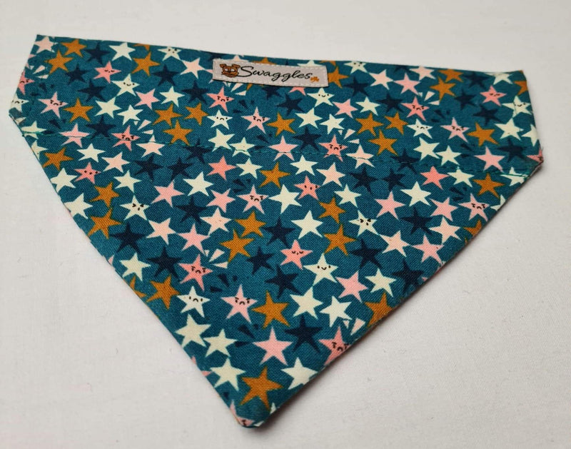 Teal Multicoloured Stars Bandana