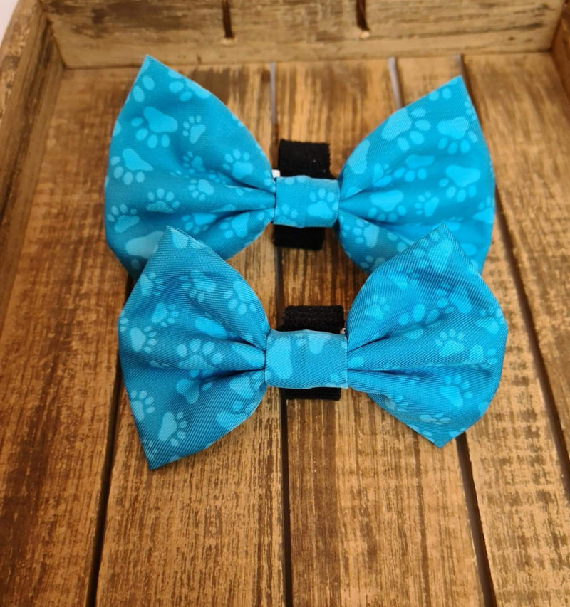 Turquoise Paws Bow Tie