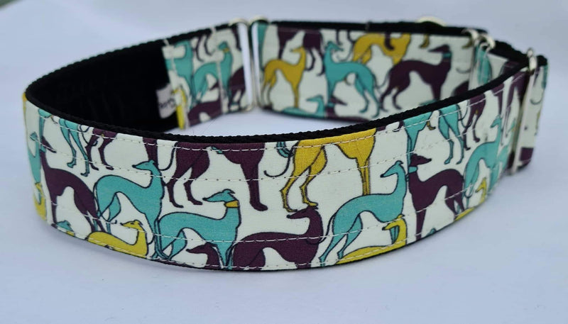 Greyhounds Purple Mint & Yellow Martingale Collar