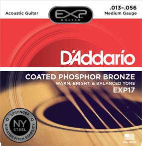Buy D'Addario EXP17 Coated Phosphor Acoustic Guitar Strings, Medium, 13-56 Online