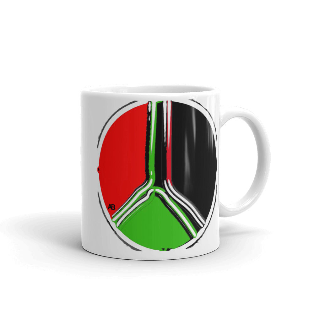 Red, Black and Green Peace Mug