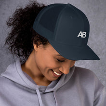Load image into Gallery viewer, Artikle Blak AB Logo White Trucker Cap