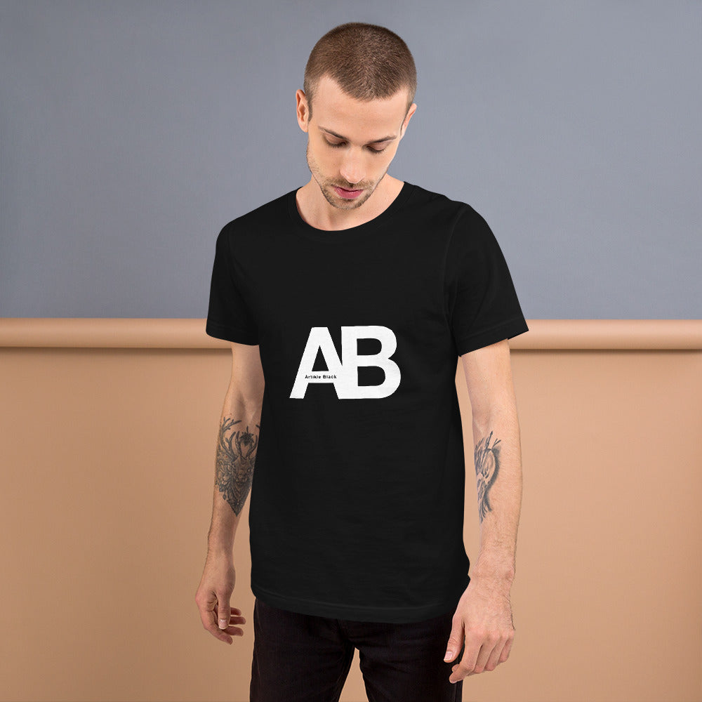 Artikle Blak AB Logo White with Artikle Blak Short-Sleeve Unisex T-Shirt