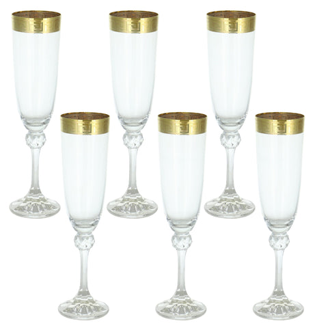 "6-PC SET OF 9.5"" FLUTE, GOLD BAND.."