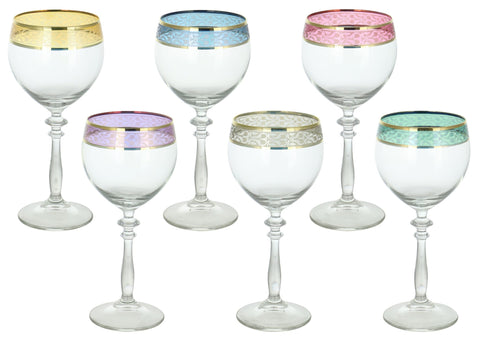 "6-PC SET OF 7.5"" MULTICOLOR BAND WINE GLASS"