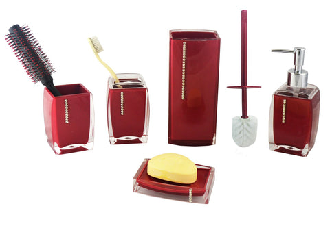 6-PC BATHROOM SET, RUBY RED W/ CRYSTALS