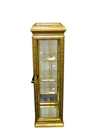 "49"" x 12 "" x 12"" Gold Cabinet w/ Glass Shelves"