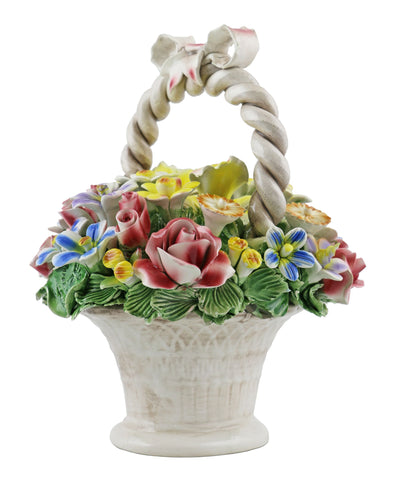 "Capodimonte 10"" Flower Basket with Handle and Bow"