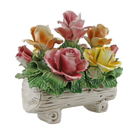 Capodimonte Roses on Log