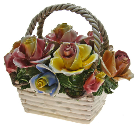 Capodimonte Retabgular Floral Basket With Handle