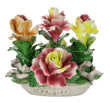 Capodimonte Flowers Oval Mixed Floral Basket