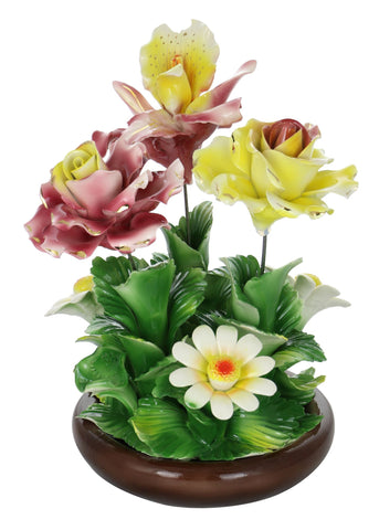 Capodimonte Flowers on Brown Base