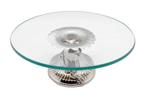 Round Glass Serving Tray on Silver Base