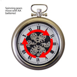 19X16 CHAMPGNE COLOR POCKET STYLE WALL CLOCK W/ MOVING GEARS