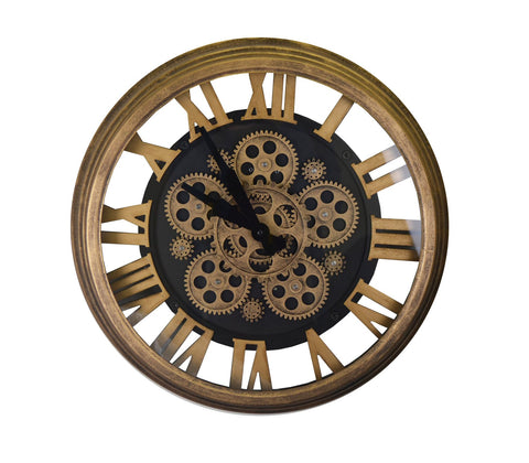 "18"" ANT. GOLD & BLK WALL CLOCK W/ MOVING GEARS"