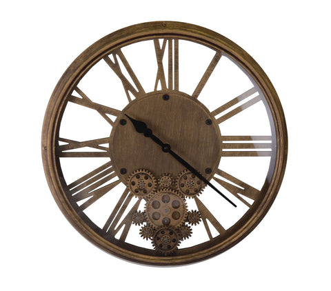 "17.5"" ANT. GOLD WALL CLOCK W/ MOVING GEARS"