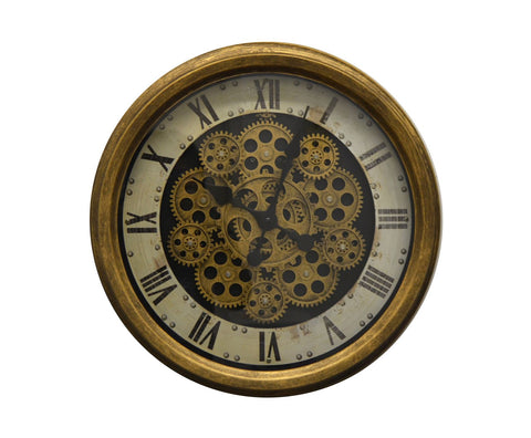 "18"" ANT. GOLD AND WHT. WALL CLOCK W/ MOVING GEARS"