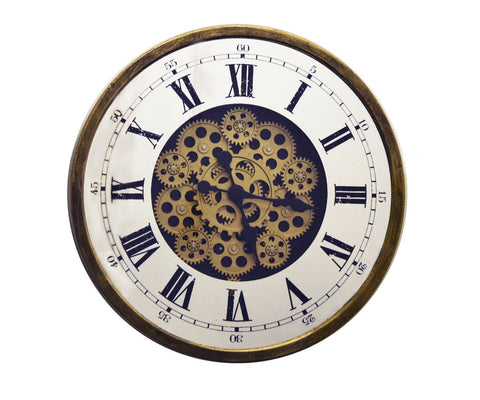 "18"" ANT. GOLD AND MIRROR WALL CLOCK W/ MOVING GEARS"