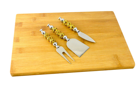 CHEESE BOARD W/ 3PC UTENSIL SET, AMBER & GOLD