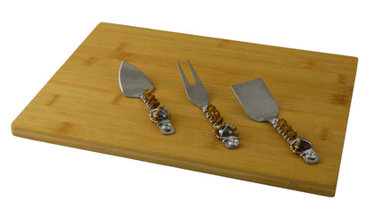 CHEESE BOARD W/ 3PC UTENSIL SET, AMBER STONES