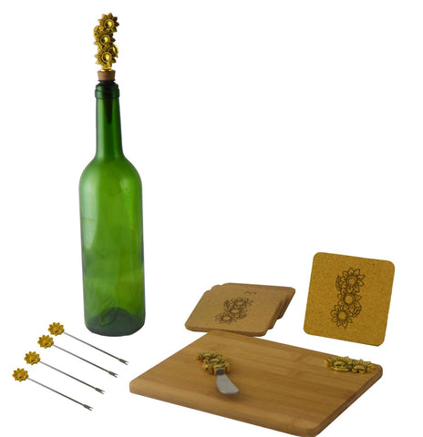 11pc Wine and Cheese Board Set w/ Flower Accents